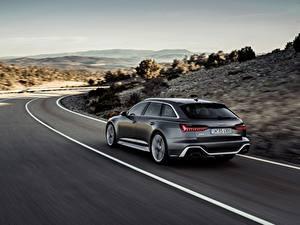 Картинка Дороги Ауди Вид сзади Движение Универсал 2020 2019 V8 Twin-Turbo RS6 Avant Автомобили