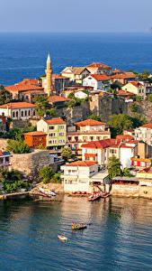 Фотография Турция Дома Побережье Причалы Amasra Города