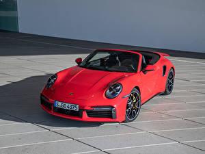 Картинки Порше Кабриолета Красный 2020 911 Turbo S Cabriolet Worldwide Автомобили