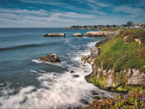 Фотография Америка Волны Океан Калифорнии Залив Утес Мха Santa Cruz