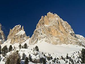 Картинки Италия Гора Зимние Альпы Снега Ель Природа
