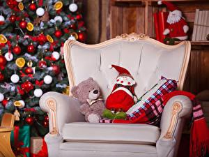 Фотография Рождество Плюшевый мишка Игрушки Новогодняя ёлка Кресло Санта-Клаус