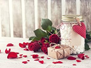 Картинка Розы Лепестков Банки Зефирки Цветы