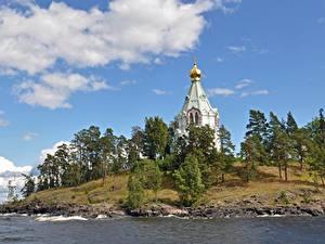 Фотографии Россия Остров Озеро Монастырь Деревья Balaam, lake Ladoga, Spaso-Preobrazhensky monastery Природа
