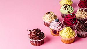 Картинки Пирожное Цветной фон Дизайн Разноцветные Продукты питания