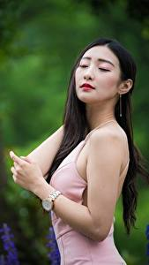 Фото Азиаты Размытый фон Поза Платье Волосы Брюнетки молодые женщины