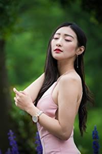 Фото Азиатки Боке Позирует Платья Волос Брюнетки девушка