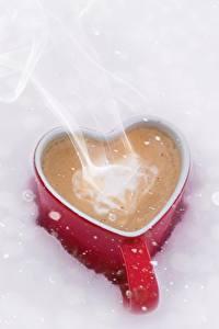 Картинки Кофе Кружка Сердечко Пар Пища