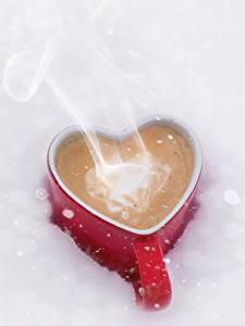 Картинки Кофе Кружка Сердце Пар Еда