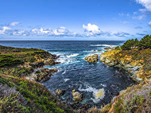 Обои для рабочего стола Штаты Берег Калифорнии Залива Скала Big Sur Природа