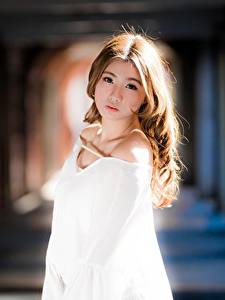 Картинки Азиаты Боке Шатенки Смотрят Миленькие молодые женщины