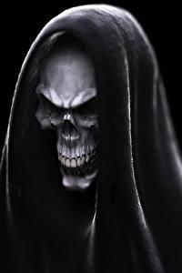 Фото Смерть Черепа Капюшон На черном фоне Фантастика