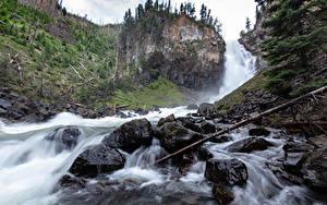 Фотография Камень Водопады Парки США Скале Йеллоустон Wyoming
