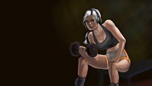 Картинка Рисованные Фитнес Гантелей Сидящие В наушниках Ноги спортивная Девушки