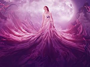 Фотография Платье Луна Рыжая Фэнтези Девушки