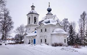 Фото Россия Зима Храмы Церковь Снег Belozersk Vologda Oblast Города
