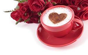 Фотографии День всех влюблённых Капучино Сердечко Чашке Блюдца Пища