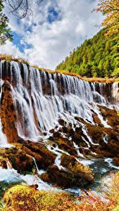 Картинка Цзючжайгоу парк Китай Парки Водопады Осенние Утес Природа