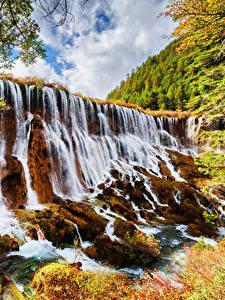 Картинка Цзючжайгоу парк Китай Парки Водопады Осенние Скале Природа