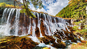 Картинка Цзючжайгоу парк Китай Парки Водопады Осенние Скале