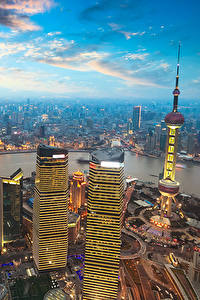 Картинка Шанхай Китай Здания Река Небо Мегаполиса Облако