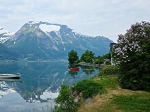 Картинка Норвегия Горы Речка Лодки Hjelle