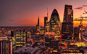 Фото Здания Вечер Англия Лондон 30 St Mary Axe