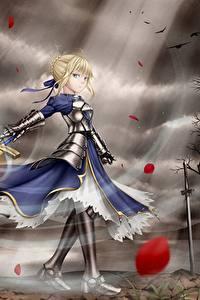 Картинки Судьба: Ночь Схватки Воины Мечи Платье Блондинка Броня Аниме Девушки