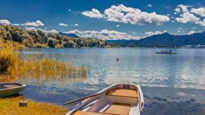 Картинки Озеро Лодки Пейзаж Германия Облака Бавария Lake Chiemsee, Chiemgau Природа