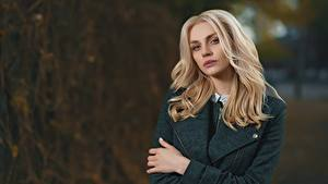 Картинка Боке Блондинка Взгляд Волос молодые женщины