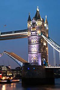 Фотография Великобритания Мосты Реки Дома Англия Лондон Ночь Города