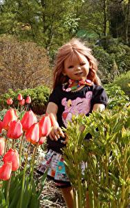 Обои Германия Парк Весенние Тюльпан Куклы Девочка Grugapark Essen Природа