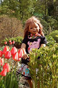 Обои Германия Парки Весенние Тюльпаны Куклы Девочка Grugapark Essen Природа