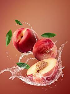 Картинка Персики Брызги Nectarine Еда