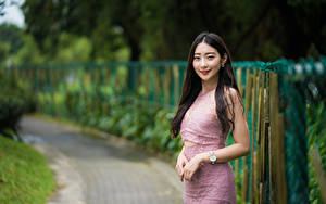 Фото Азиатка Улыбка Волос Руки Платья Взгляд Девушки