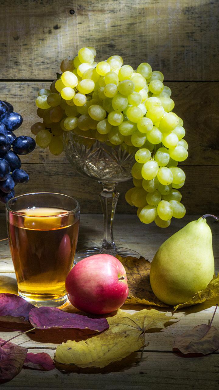 Обои Листья Сок Груши Стакан Яблоки Виноград Еда Натюрморт 720x1280 лист Листва стакана стакане Пища Продукты питания