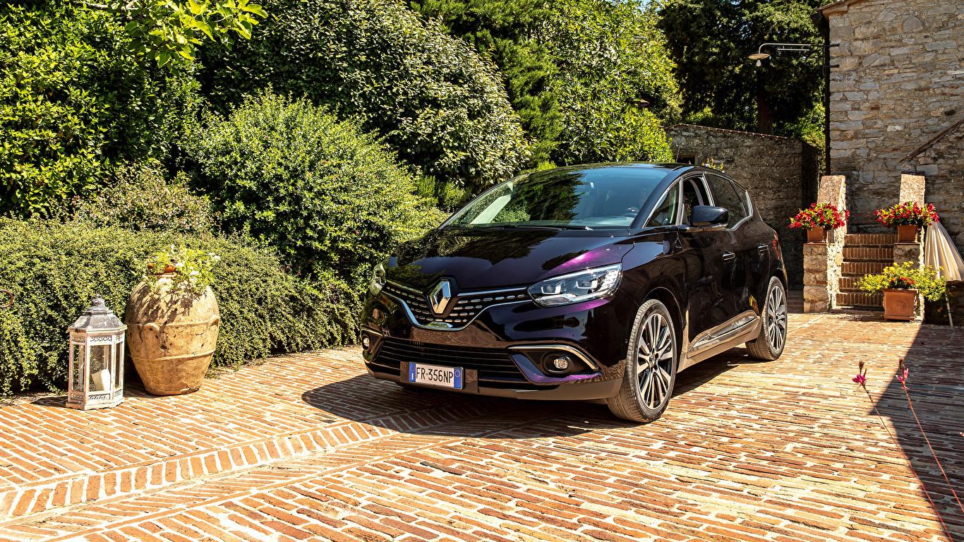 Фотография Renault 2017-19 Scenic Initiale Paris Worldwide бордовая Металлик Автомобили 1366x768 Рено Бордовый бордовые темно красный авто машина машины автомобиль