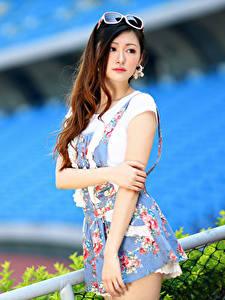 Картинка Азиатки Боке Поза Платье Руки Смотрят Девушки