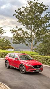 Картинка Mazda Красных Металлик 2017 CX-5 Akera Автомобили