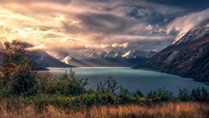 Фотография Аргентина Гора Пейзаж Залива Облачно Траве Природа