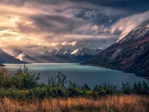 Фотография Аргентина Гора Пейзаж Залива Облачно Трава