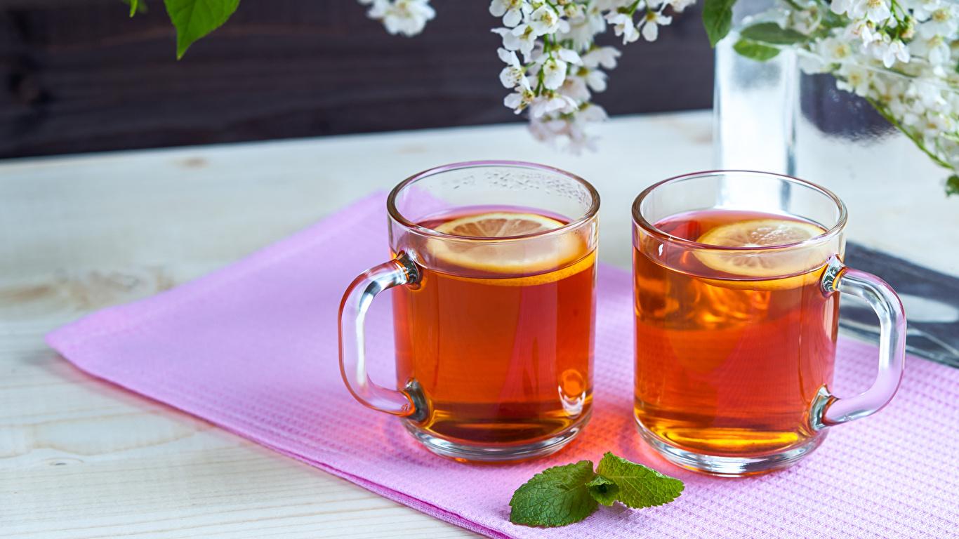 Картинка 2 Чай Пища Чашка 1366x768 две два Двое вдвоем Еда чашке Продукты питания