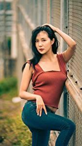 Фотографии Азиаты Поза Джинсов Рука Брюнетка Взгляд молодая женщина