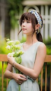 Фотографии Букеты Боке Рука Милые Шатенки молодая женщина