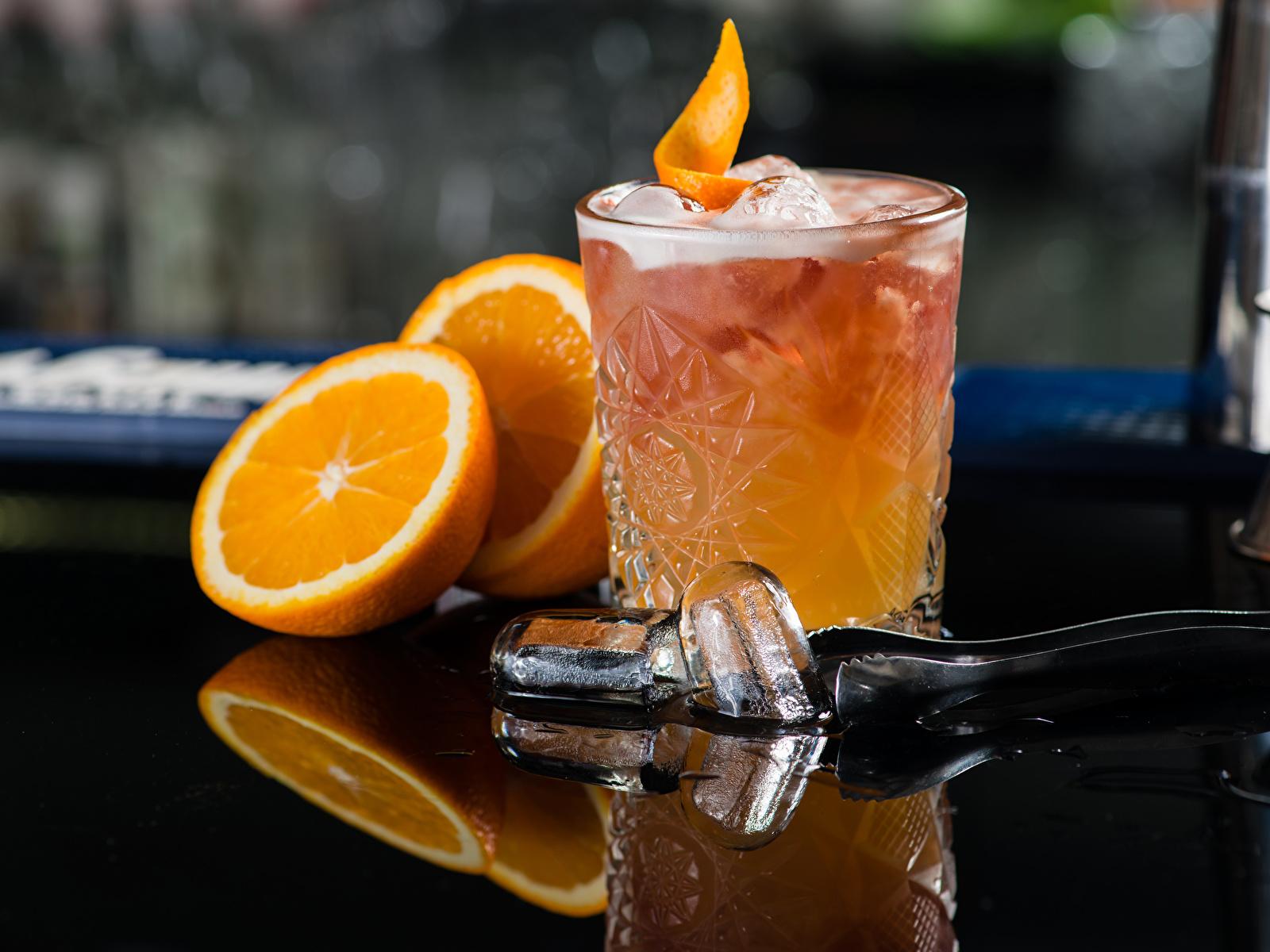 Обои для рабочего стола Алкогольные напитки льда Апельсин стакана Еда Коктейль 1600x1200 Лед Стакан стакане Пища Продукты питания