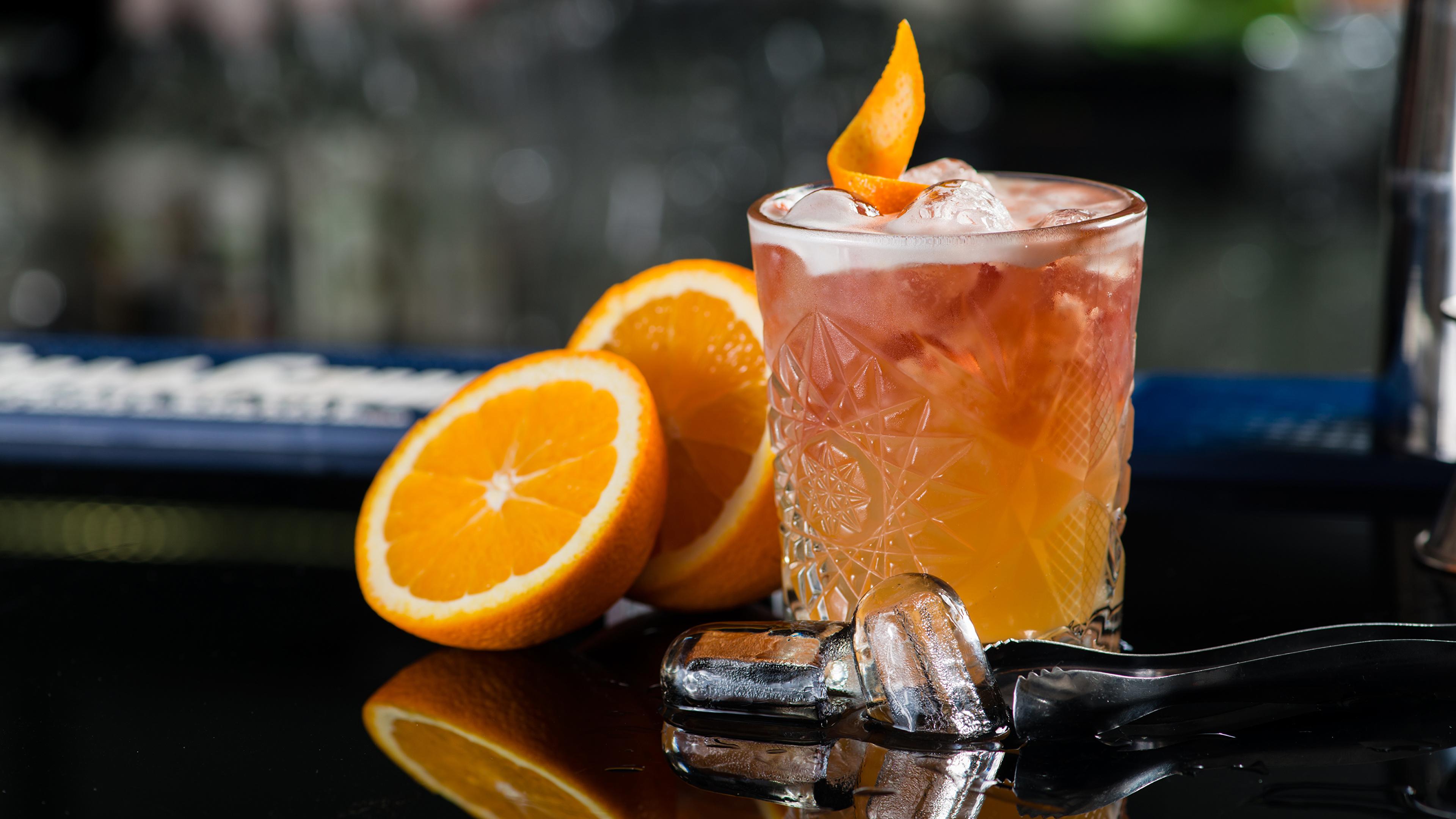 Обои Алкогольные напитки Лед Апельсин Стакан Коктейль Продукты питания 3840x2160 Еда Пища
