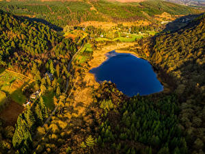 Картинки Ирландия Парк Озеро Леса Дороги Сверху Glendalough Wicklow Mountains National Park Природа