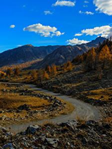 Картинки Франция Горы Небо Дороги Камни Осенние Альпы