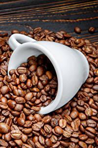 Фотографии Кофе Много Доски Зерно Чашке