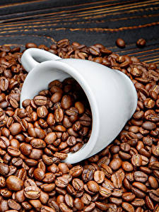 Фотографии Кофе Много Доски Зерно Чашке Пища